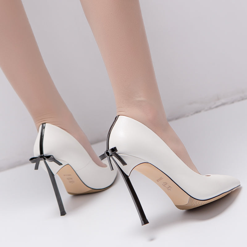 High heels, Back bow high quality pointed toe high heels