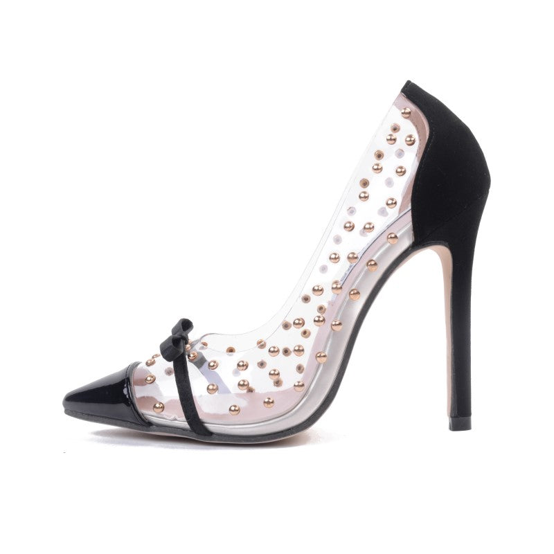 Pumps, Mia clear rivet bow pointed heels