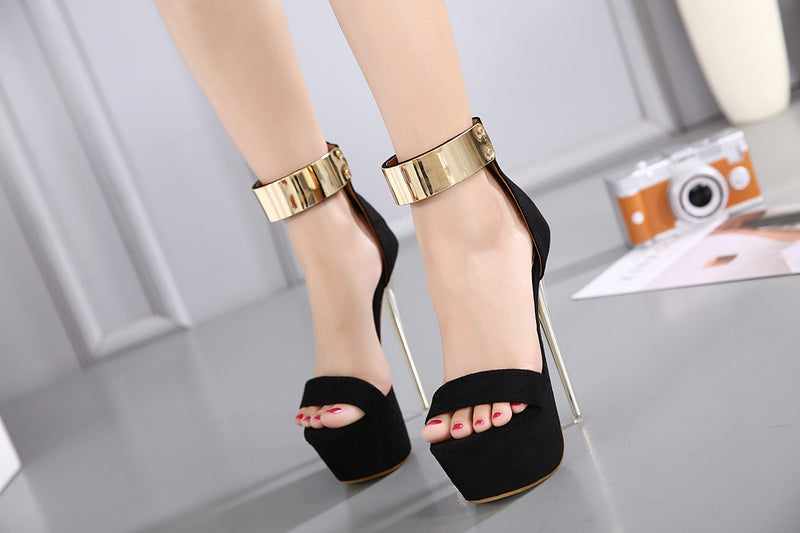 Sandals, Jezz ankle strap gold thin sandal heels
