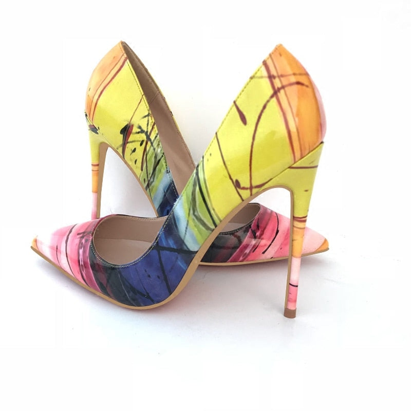 Pumps, Yellow art mix color pointed toe highs