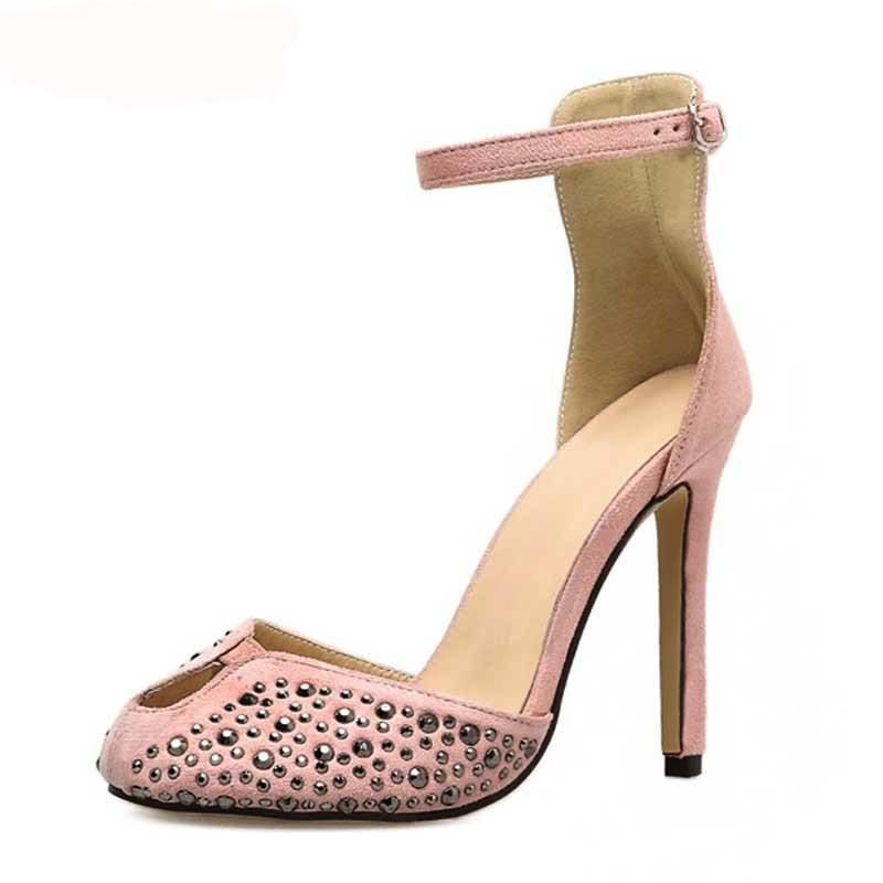 Sandals, Gwen rivet peep toe ankle sandal heels