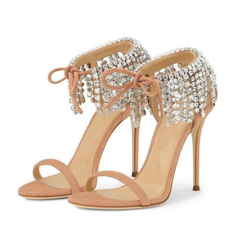 Sandals, Jane crystal fringe sandal heels