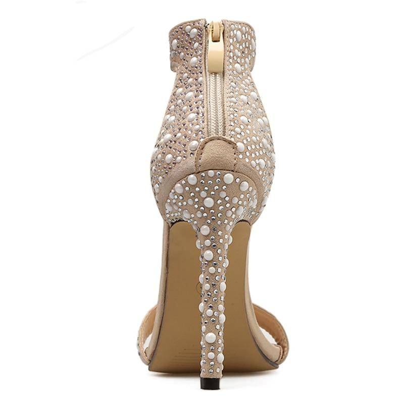 Sandals, Eiken rhinestone feather apricot  sandal heels