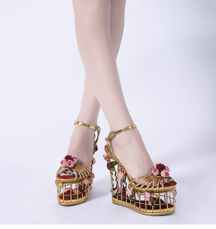 Sandals, Gold flower  bird cage ankle sandal wedges heels