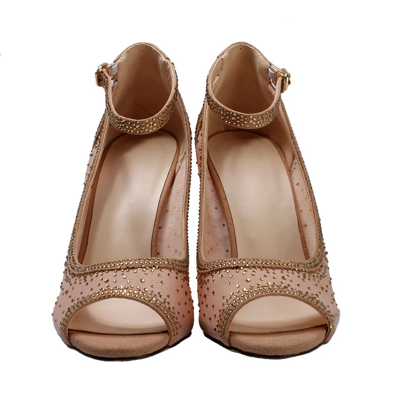 Sandals, Astrid ankle peep toe gold mesh crystal heels