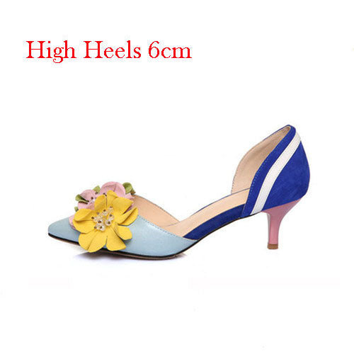 Pumps, Flower mix color high heels