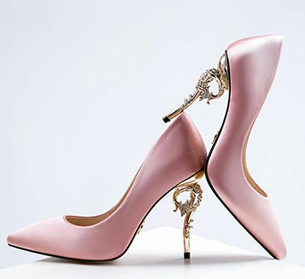 Pumps, Asa silk pointy leaf gold heels
