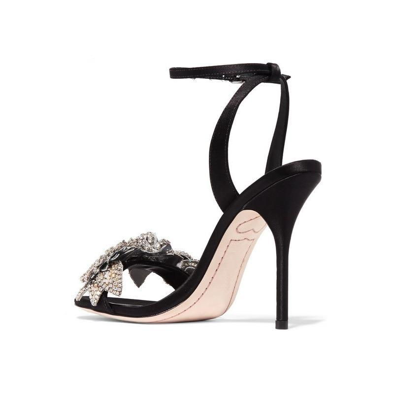 Sandals, Leon silk ankle peep toe crystal sandal heels
