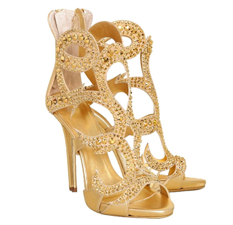 Sandals, Daisy rivet gold sandal heels