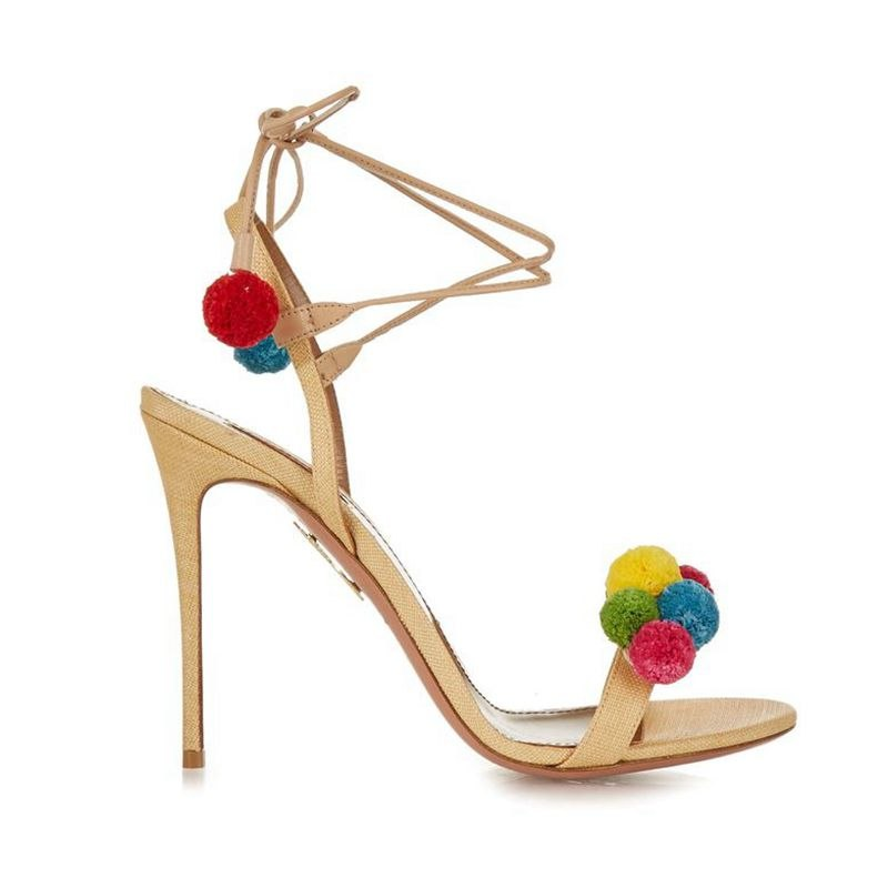 Sandals, Candy fur ball pow lace up sandal heels