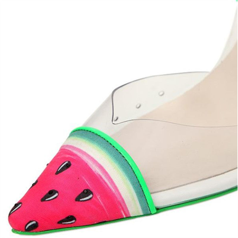 Pumps, Jady watermelon print clear pointed heels