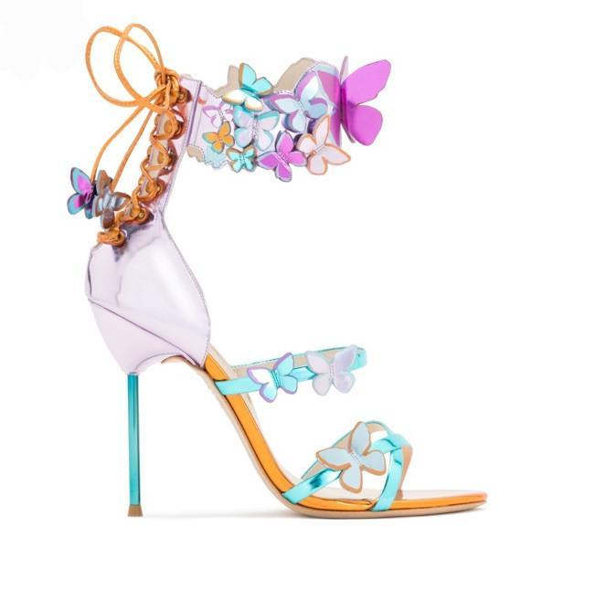 Sandals, Butterfly ankle appliques heels sandals