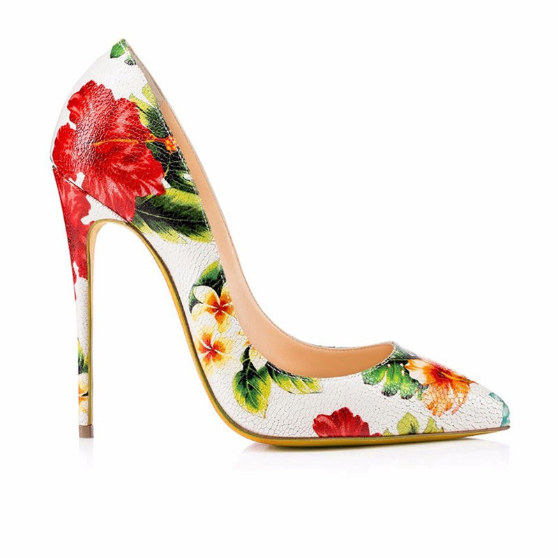 Pumps, Sassy white flower pointed toe heels