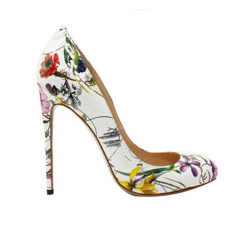 Pumps, Chantel white flower high heels