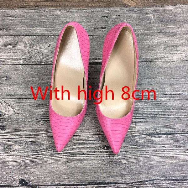 Pumps, Dulce pink serpentine pointed toe heels