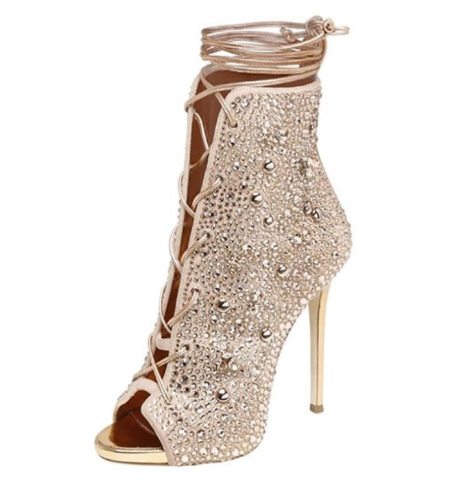 Pumps, Lexie bling crystal lace up bootie sandal heels