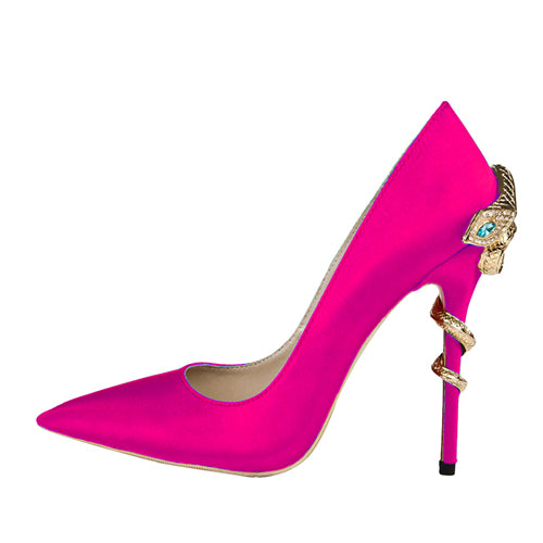 Pumps, Cleopatra crystal snake metal pointed heel