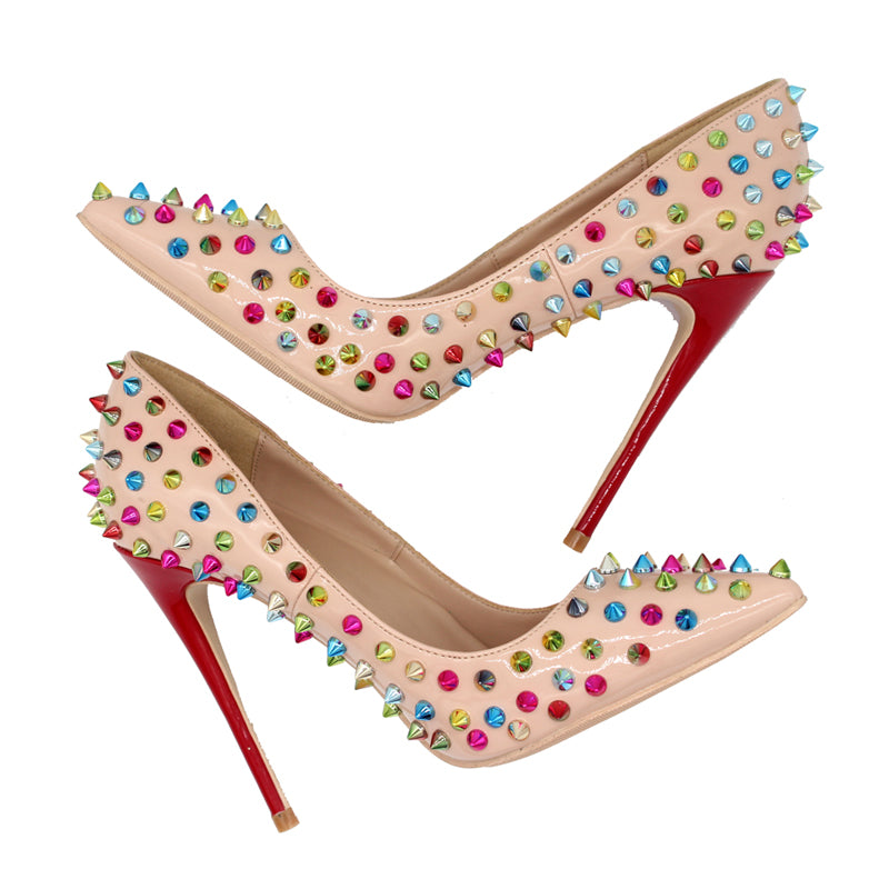 Pumps, Raquel beige colorful rivet spikes pointed toe heels