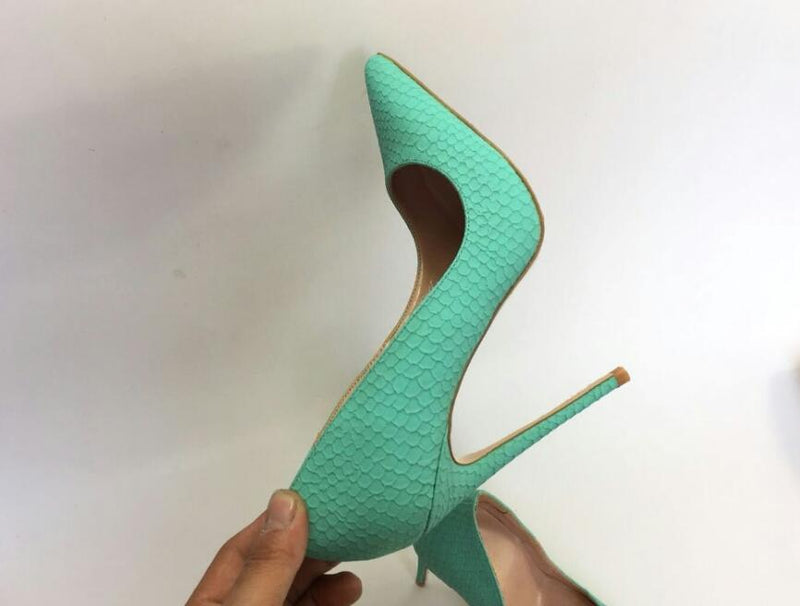 Pumps, Dulce green serpentine pointed toe heels