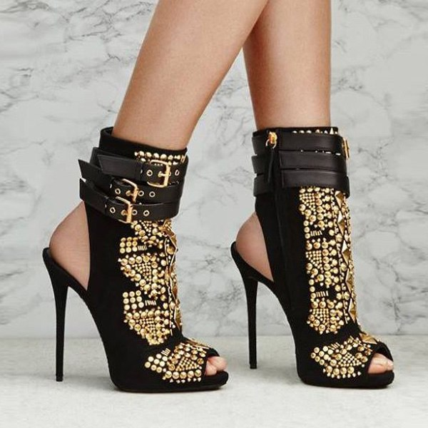 Sandals, Colette gold studded rivets peep toe sandal heels