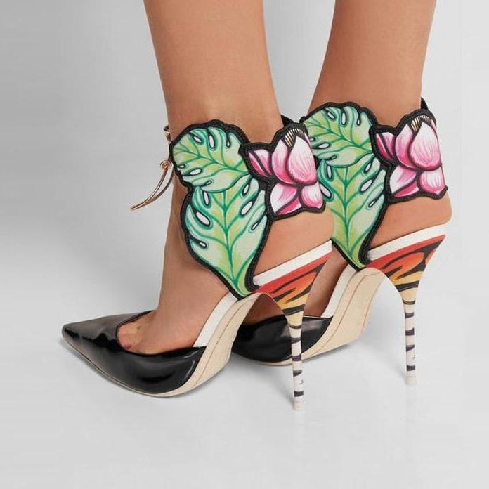 Pumps, Qian black pointed toe ankle flower heels