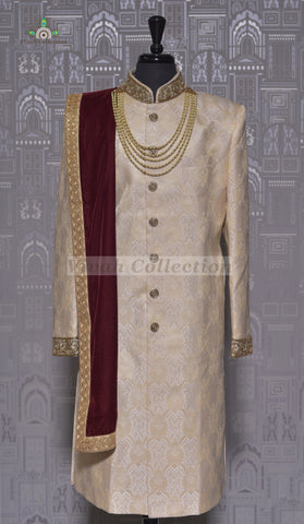 RAW SILK NAVY SHERWANI