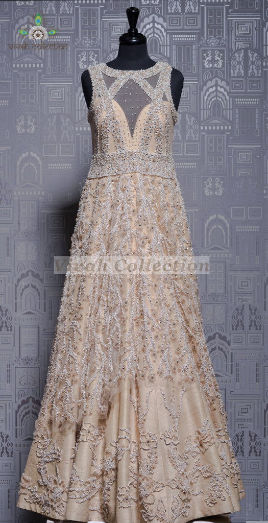 CREAM RAW SILK NET GOWN