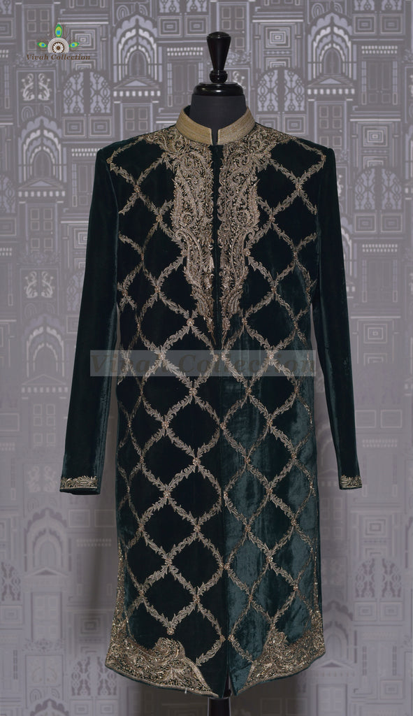 RAW SILK BLUE SHERWANI