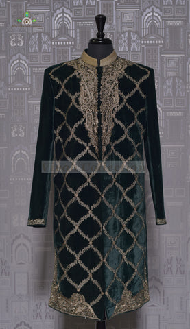 RAW SILK WINE SHERWANI