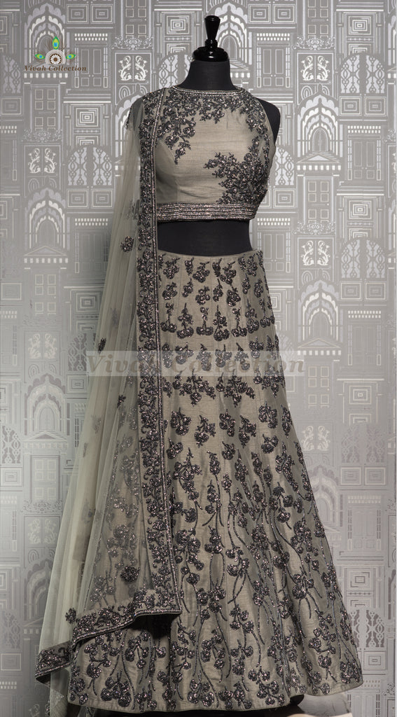 GREY NET LEHNGA WITH TRAIL