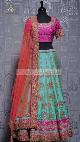 ICY BLUE RAW SILK LEHNGA