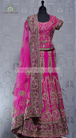 RED RAW SILK LEHENGA
