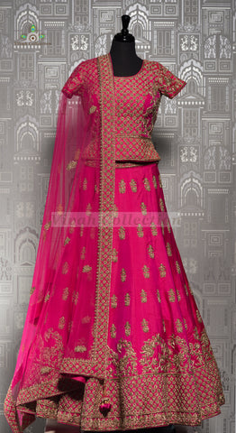 BLUE MIRCO VELVET & HOT PINK RAW SILK LEHNGA