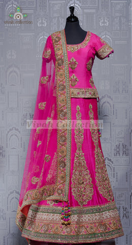 HOT PINK RAW SILK LEHNGA