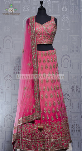 GOLD BLOUSE & SELF PRINT SILK LEHNGA