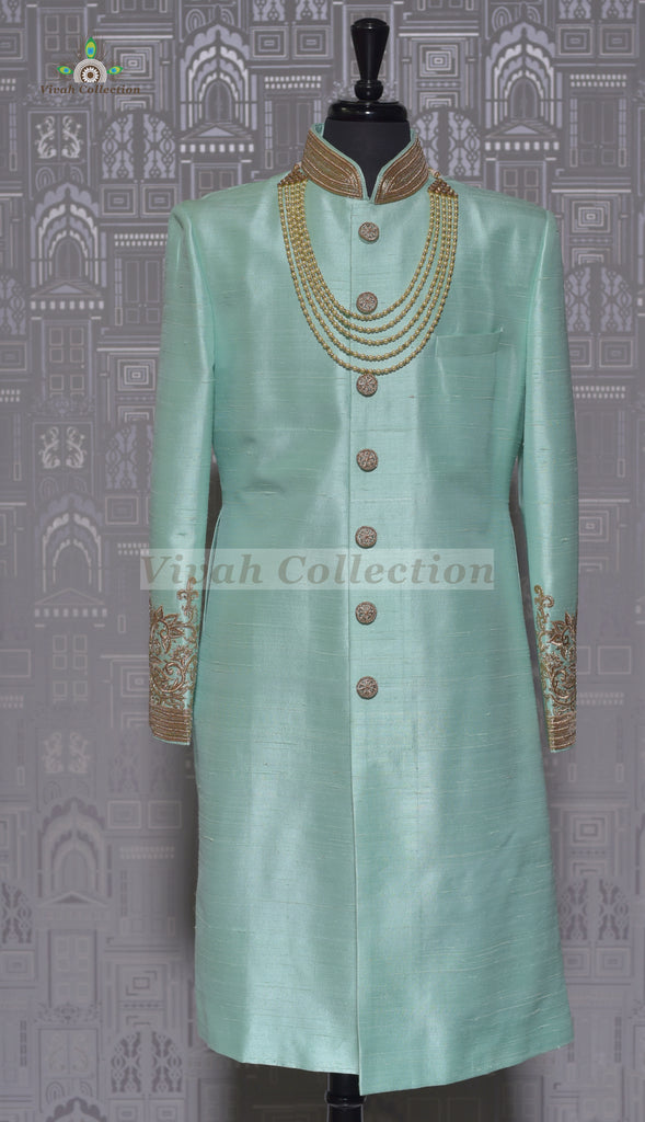 RAW SILK MINT SHERWANI