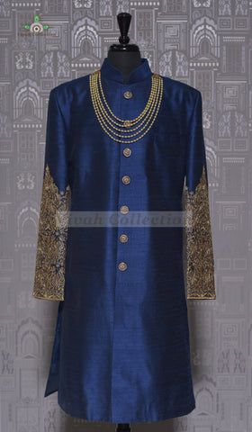SILK SHERWANI WITH CHOLA