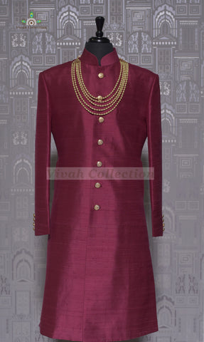 VELVET RED SHERWANI