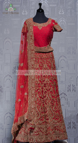 PINK RAW SILK WITH NET LEHENGA