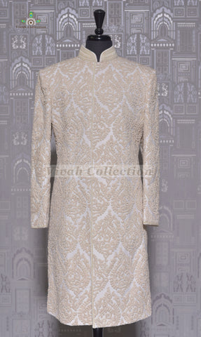BROCADE WHITE SHERWANI