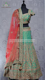 TEAL GREEN SILK LEHENGA
