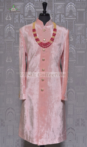 VELVET RED SHERWANI WITH GOLD CHOLA