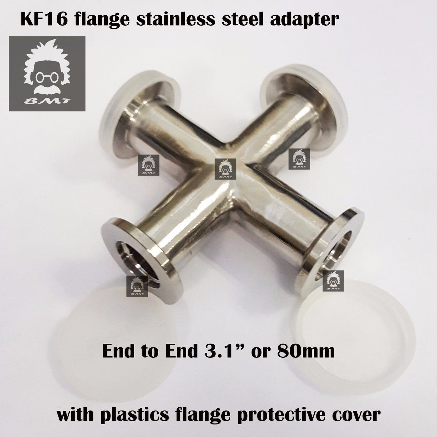 KF16 Cross vacuum adapter, 4 ways all ends KF16 flange SS 304, finely  polished