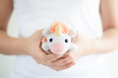 tiny rabbit hole - rainbow unicorn amigurumi crocheted doll
