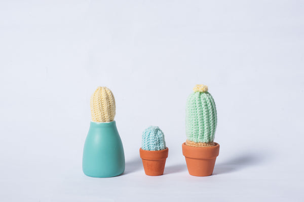 Tiny rabbit hole - craft green crochet knit knit cactus amigurumi ceramic clay pot