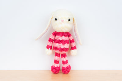 Tiny Rabbit Hole - Handmade Crochet Knitting Pink Striped Bunny with floppy ears amigurumi for sale soft yarn safety eyes polyfibre stuffing doll children rabbit