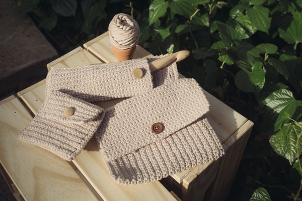 Hinoki Sachet best crochet bag workshop singapore craft shop handmade handicraft yarn diy amigurumi sewing knitting wood muji japanese purse clutch
