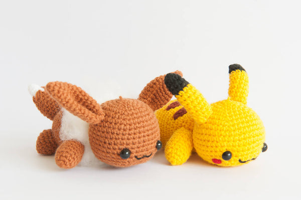 Lazy Eevee from Pokemon Amigurumi Crochet Pattern - Tiny Rabbit Hole