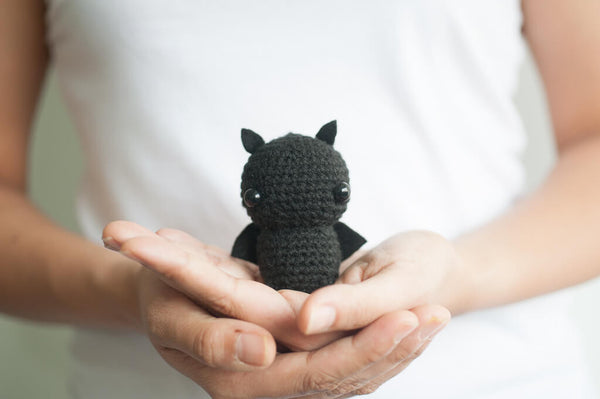 tiny rabbit hole - crochet knit pink black bat amigurumi pattern