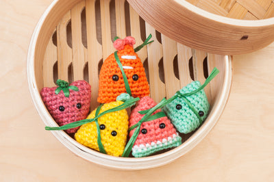 Tiny Rabbit Hole – bazhang bak chang zongzi sticky rice dumpling food lover amigurumi food dairy daniel sethlui lady iron chef foodie ebi watermelon pineapple strawberry fruits dim sum cute toys crochet plush handmade singapore craft chinatown workshop tim ho wan 126 yum cha